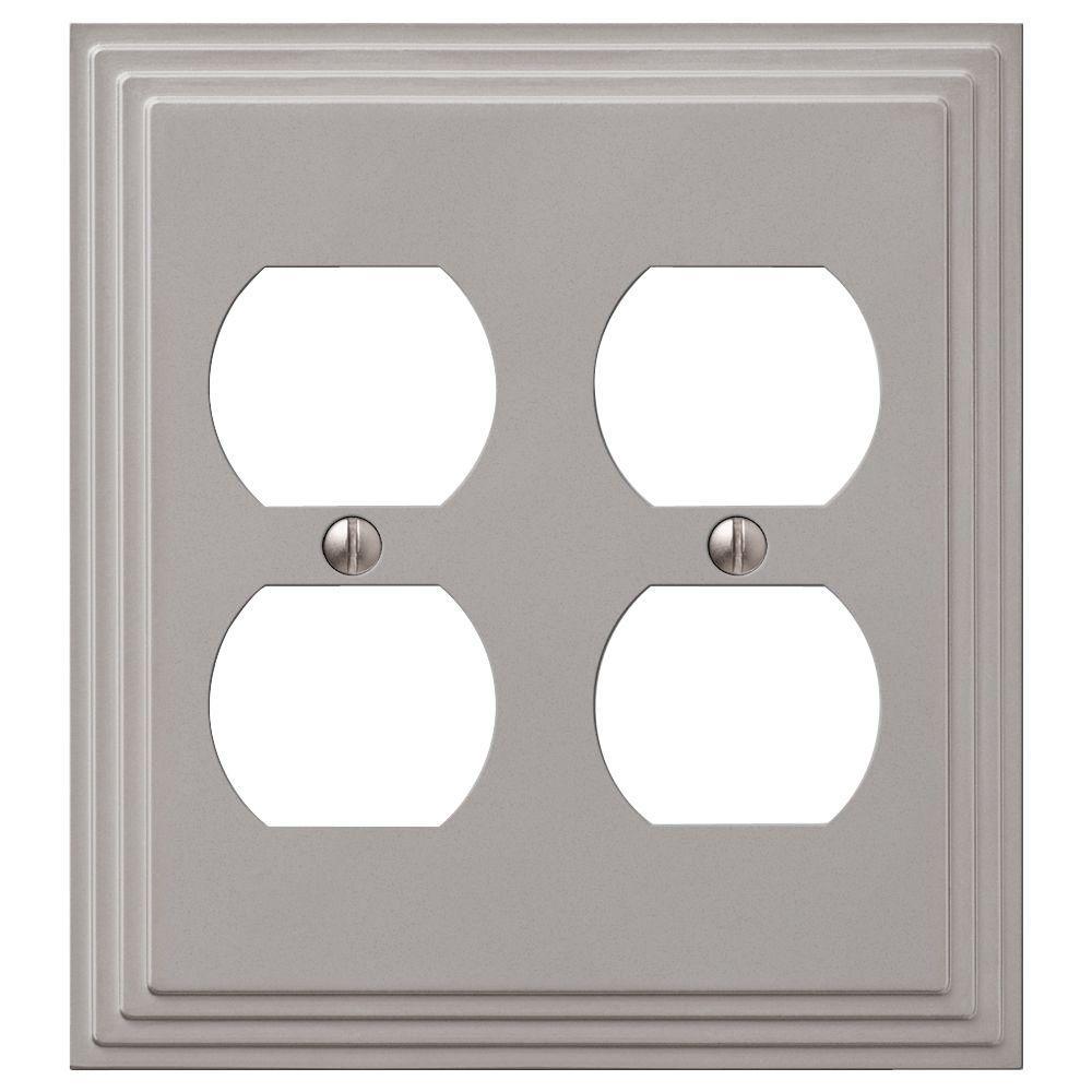 Tiered 2 Gang Duplex Metal Wall Plate - Satin Nickel
