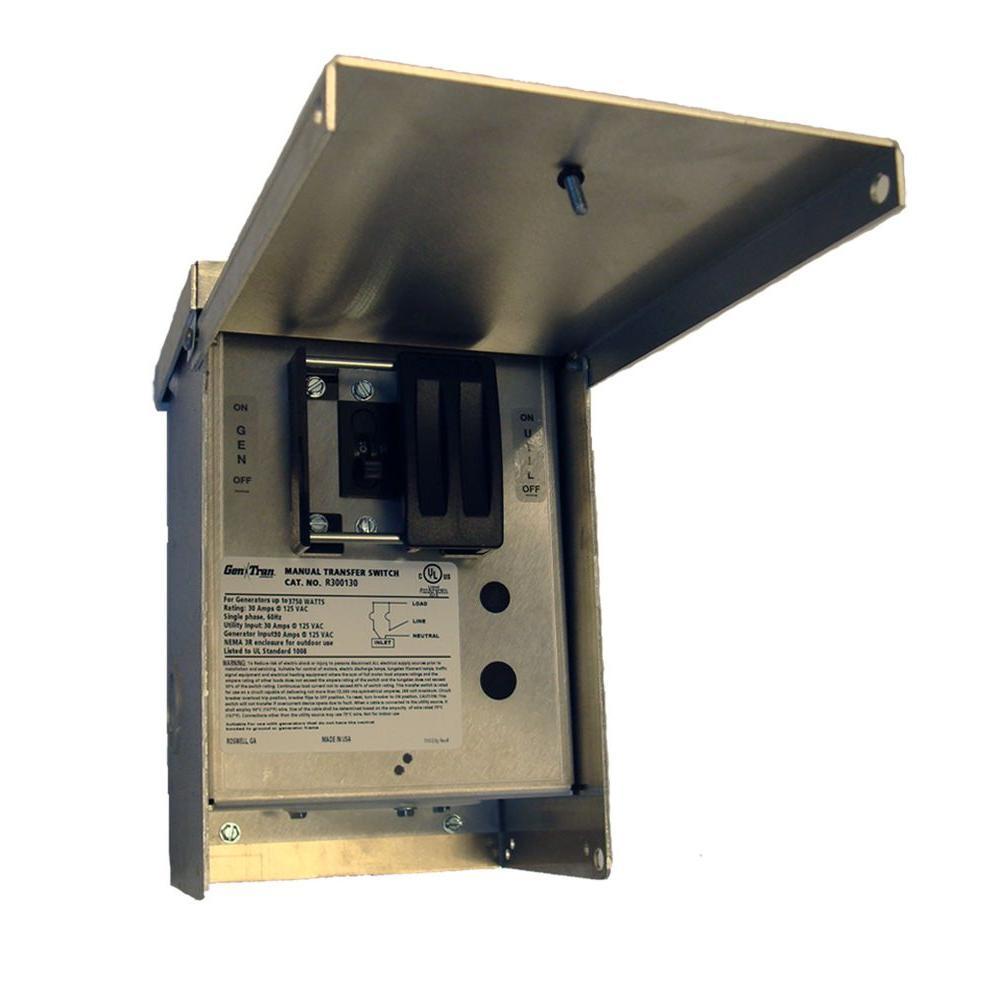 GenTran 30 Amp 125-Volt 3,750-Watt Non-Fuse Manual Transfer Switch-DISCONTINUED