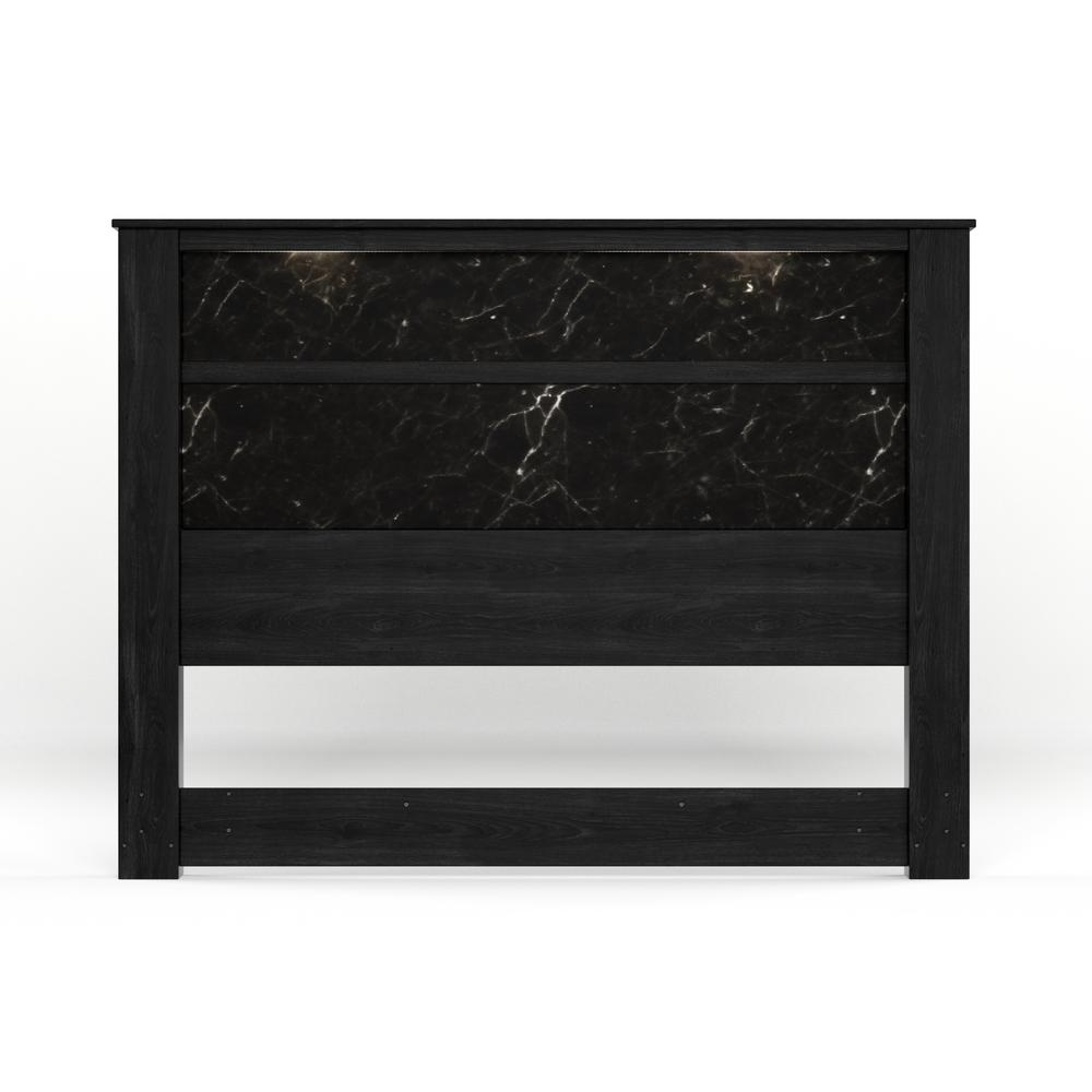 6c63e8ab469 South Shore Gloria Black Oak and Black Marble King Headboard with Lights