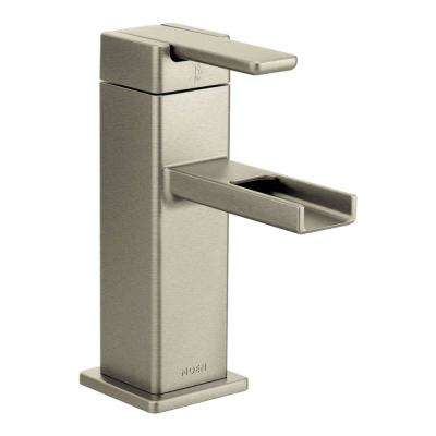 90-Degree Single Hole Single-Handle Mid-Arc Lavatory Faucet in Brushed Nickel