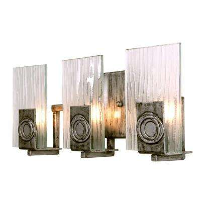 Polar 3-Light Blackened Silver Bath Vanity Light with Ice Crystal Glass