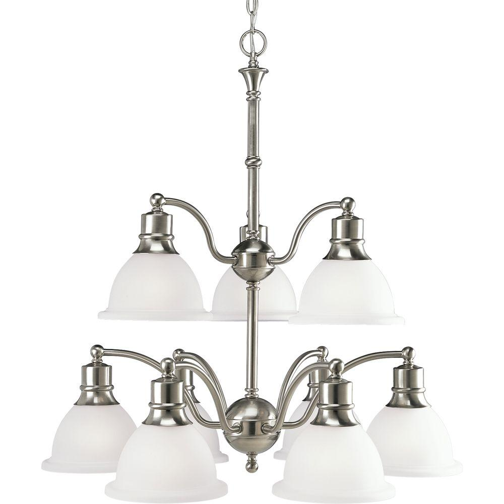 Progress Lighting Madison Collection 9 Light Brushed Nickel Chandelier With Etched Gl