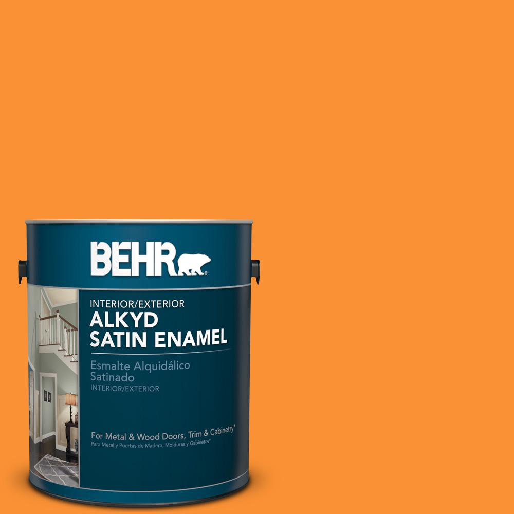 1 gal. #P240-7 Joyful Orange Satin Enamel Alkyd Interior/Exterior Paint