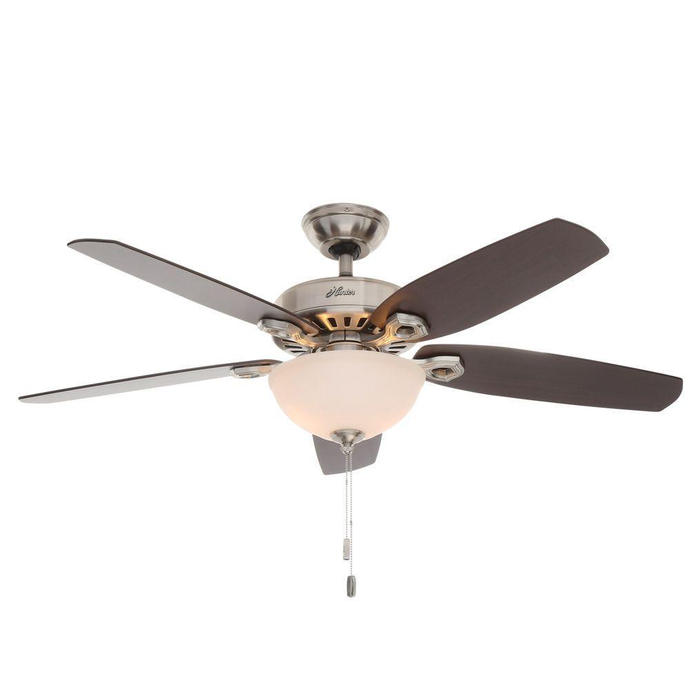 Builder Deluxe 52 in. Indoor Brushed Nickel Ceiling Fan with Light