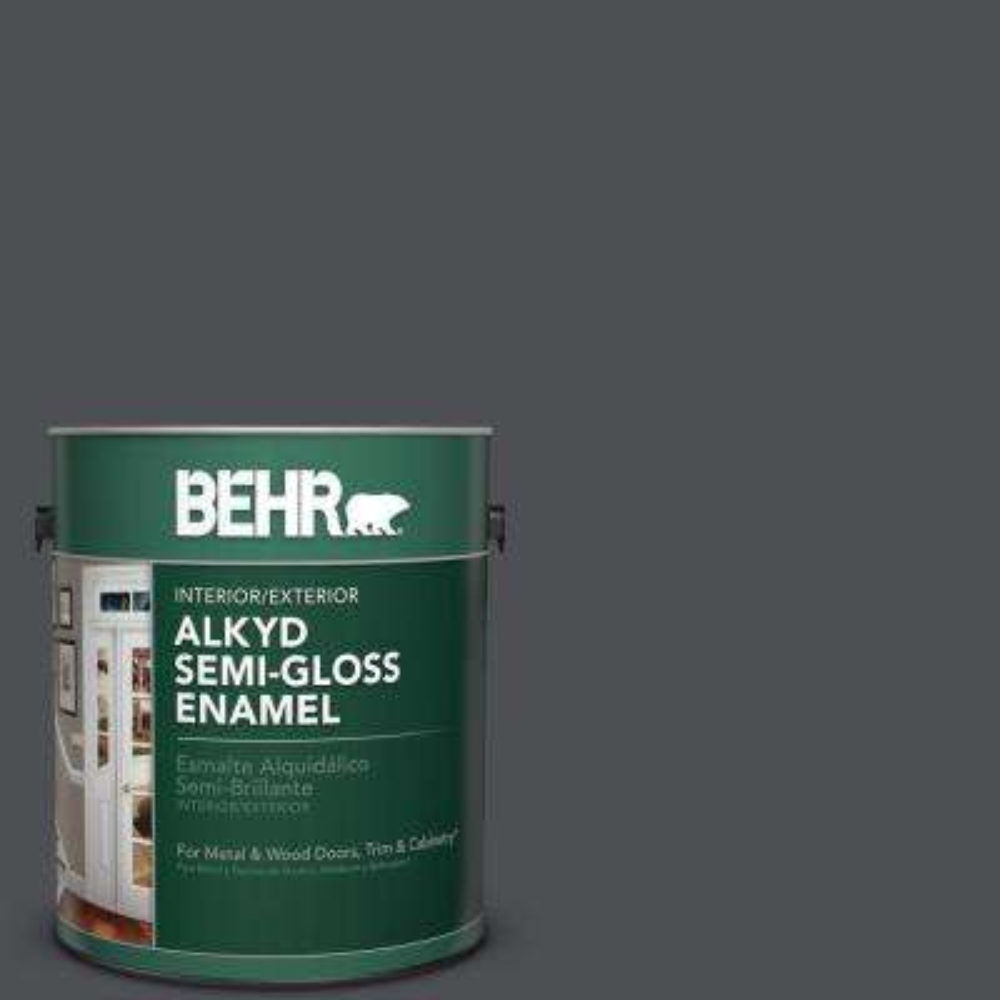 1 gal. #PPU18-01 Cracked Pepper Semi-Gloss Enamel Alkyd Interior/Exterior Paint