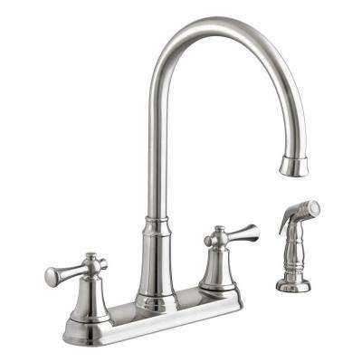 Portsmouth High-Arc 2-Handle Standard Kitchen Faucet with Side Sprayer in Stainless Steel