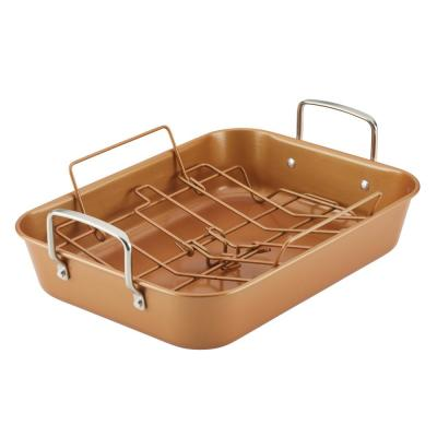 Ayesha Bakeware Nonstick Roaster with Convertible Rack, 11-Inch x 15-Inch, Copper