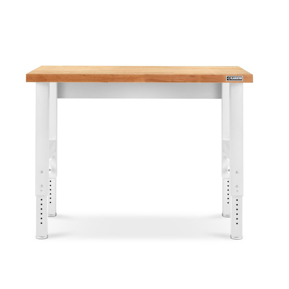 Sensational Gladiator 4 Ft Hardwood Top Adjustable Height Workbench In Hammered White Lamtechconsult Wood Chair Design Ideas Lamtechconsultcom
