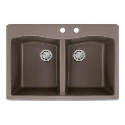 Aversa Drop-in Granite 33 in. 2-Hole Equal Double Bowl Kitchen Sink in Espresso