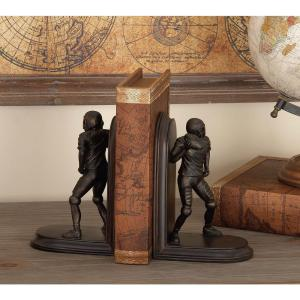 8 inch x 5 inch Brown Polystone Football Bookends by