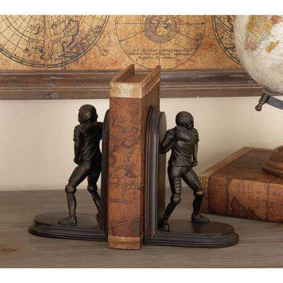 8 in. x 5 in. Brown Polystone Football Bookends