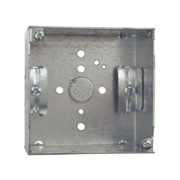 1-Gang 4 in. 2-1/8 in. Deep 30.3 cu. in. New Work Pre-Galvanized Metal Square Electrical Box - MS Bracket (Case of 25)