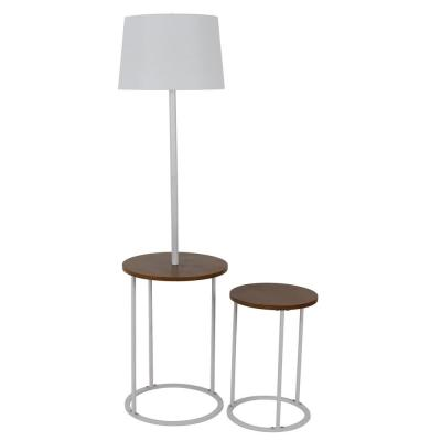Ricard 58 in. White Floor Lamp with Nesting Table Set