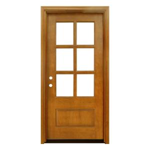 36 in. x 80 in. Craftsman Savannah 6 Lite Right-Hand Inswing Autumn Wheat Mahogany Wood Prehung Front Door