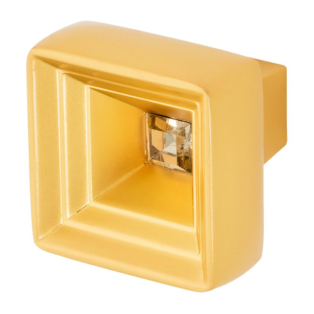 Hidden Treasure 1-1/16 in. Satin Gold with Antique Yellow Crystal Cabinet