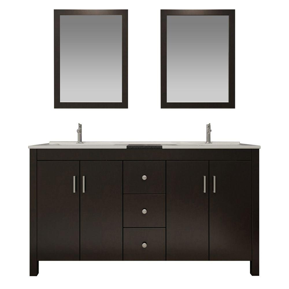 Ariel Hanson 60 In. Bath Vanity In Espresso With Granite Vanity Top In  Black,