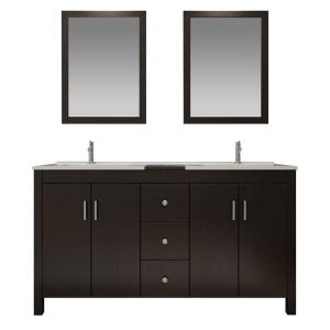 Ariel Hanson 60 inch Vanity in Espresso with Granite Vanity Top in Black, Drop-In Basins and Mirrors by Ariel