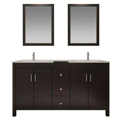 Hanson 60 in. Vanity in Espresso with Granite Vanity Top in Black, Drop-In Basins and Mirrors