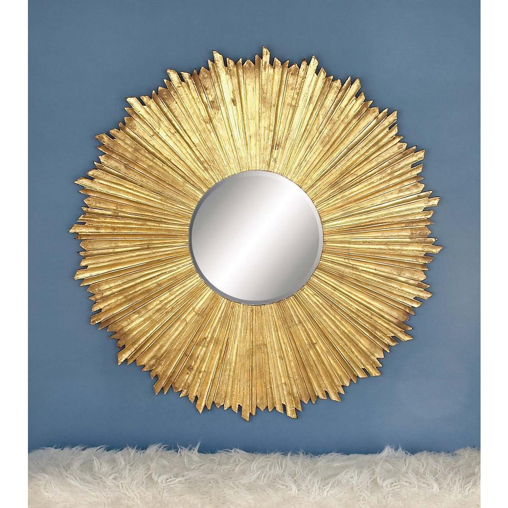 47 in. x 47 in. Rustic Pine Wood Decorative Round Wall Mirror-23778 ...