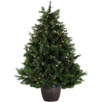 5 ft. Pre-lit LED Northern Cedar Potted Artificial Christmas Tree in Decorative Pot with 200 Clear Lights