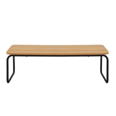 Querencia 47 in. Oak/Black Large Rectangle Particle Board Coffee Table with Steel Legs