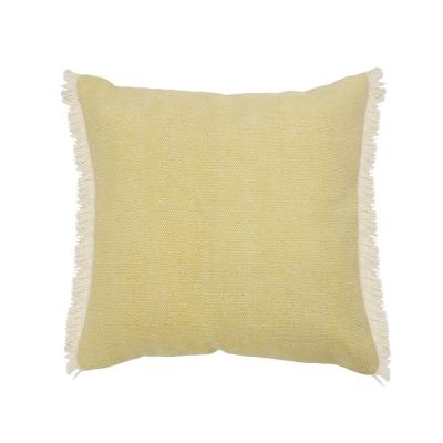 Minimalist Light Yellow Solid Fringed Edge Soft Poly-fill 20 in. x 20 in. Throw Pillow