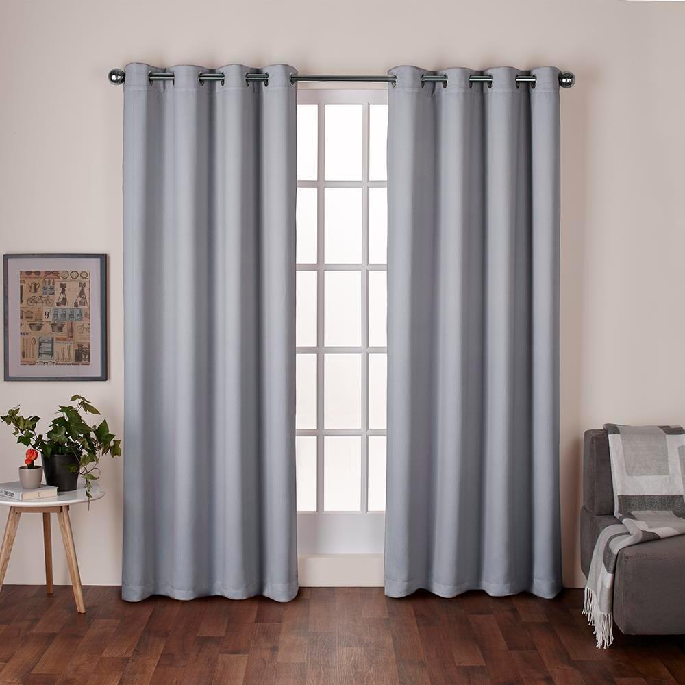 Heath Dove Grey Textured Linen Grommet Top Window Curtain