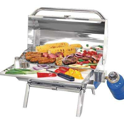 Portable ChefsMate Connoisseur Series ChefsMate Propane Gas Barbecue Grill in Stainless Steel