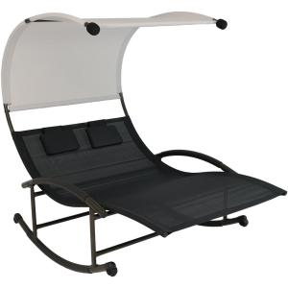 Sunnydaze Decor Sling Double Outdoor Rocking Chaise Lounge ...