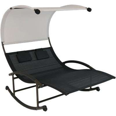Sling Double Outdoor Rocking Chaise Lounge Chair with Canopy
