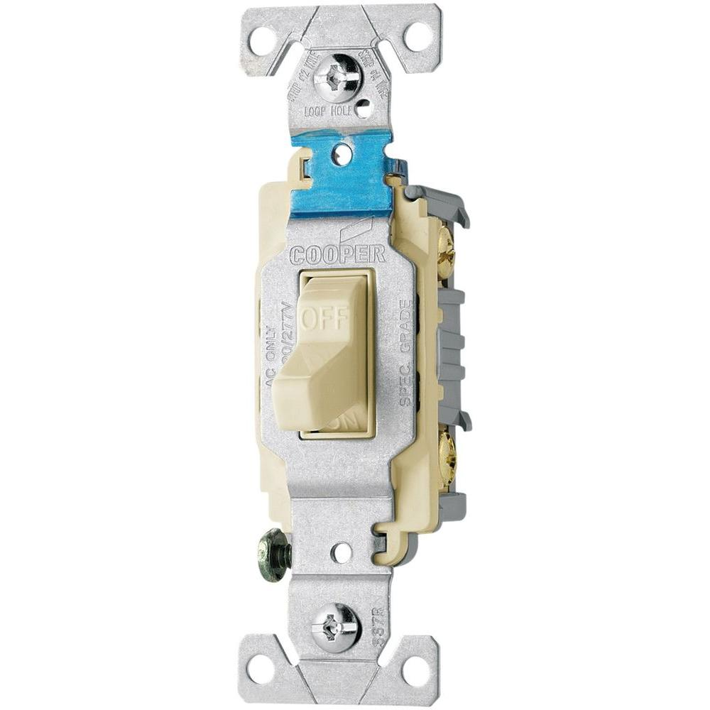 Eaton 20 Amp 120/277-Volt Side Wire Compact Toggle Switch, Light ...