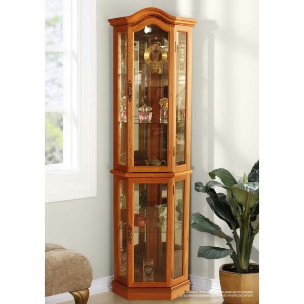 Floor Standing Oak Lighted Curio Cabinet