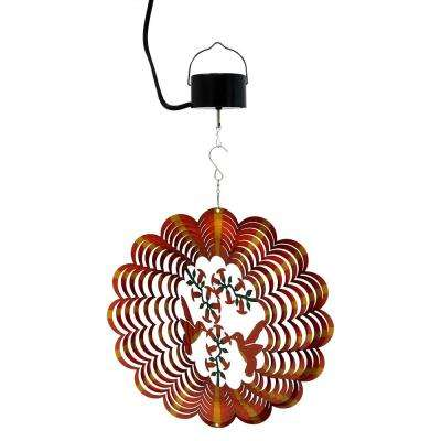 12 in. Orange Hummingbird Wind Spinner with Electric-Operated Motor