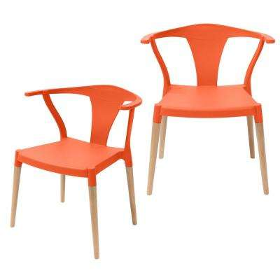 Icon Series Orange Modern Accent Dining Arm Chair with Beech Wood Legs (Set of 2)