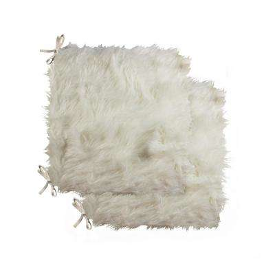 Laredo Off-White Faux Sheepskin Fur Chair Pad (Set of 2)