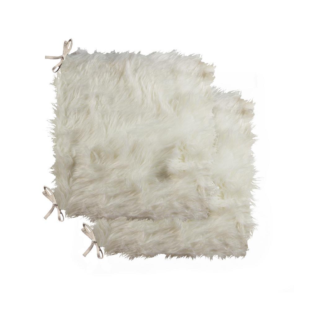 Laredo Off-White Faux Sheepskin Fur Chair Pad (Set of 2)