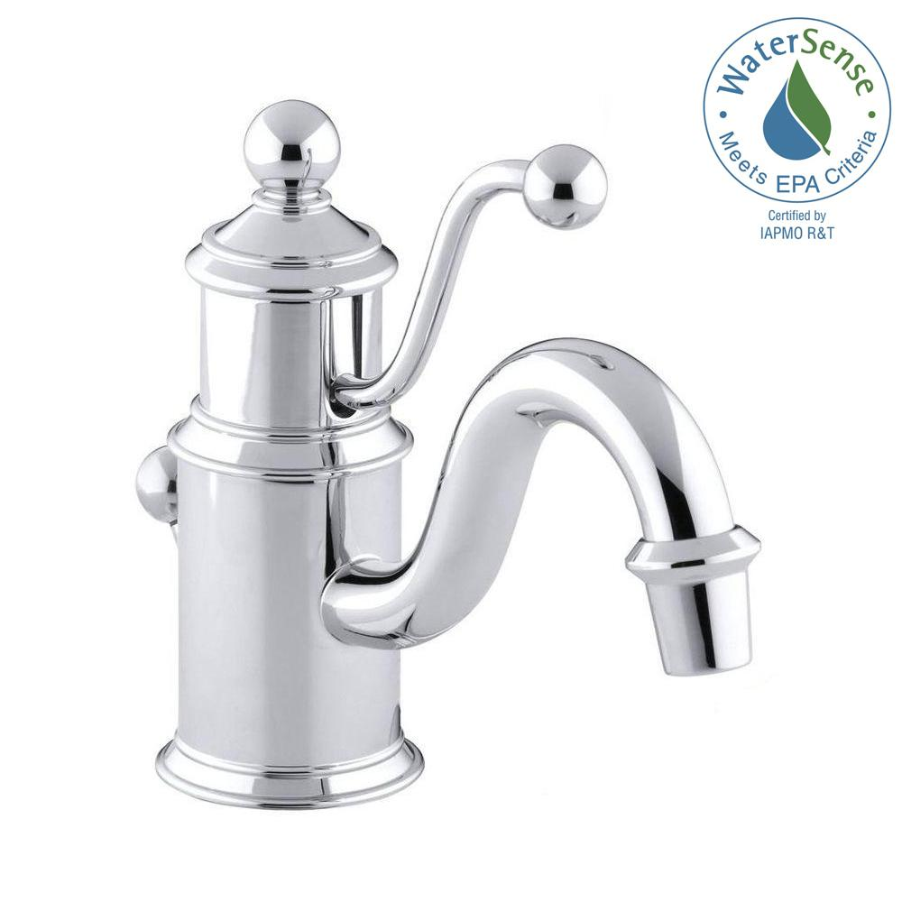 Kohler antique single hole single handle low arc water for Water saving bathroom faucets