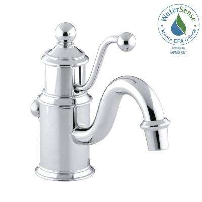 Antique Single Hole Single Handle Low-Arc Water-Saving Bathroom Faucet in Polished Chrome