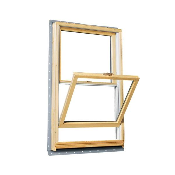 33.625 in. x 56.875 in. 400 Series Double Hung Wood Window with White Exterior