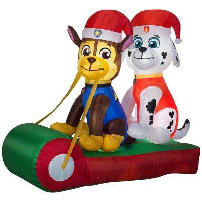 499 ft w pre lit inflatable marshall and chase on sled airblown scene - Paw Patrol Christmas Decorations