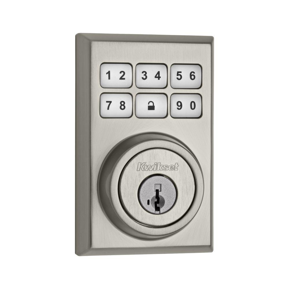Kwikset SmartCode 909 Contemporary Satin Chrome Single Cylinder Electronic Deadbolt featuring SmartKey