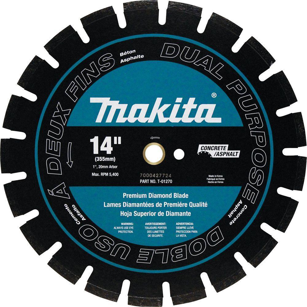 makita 14 in premium segmented dual purpose diamond blade for 14 in power cutter t 01270 the. Black Bedroom Furniture Sets. Home Design Ideas