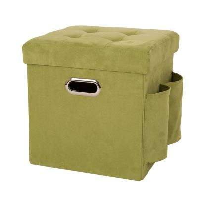 15 in. H Green Cube Faux Suede Foldable Storage Ottoman with Padded Seat