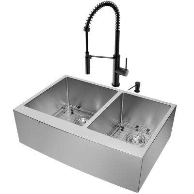 Farmhouse Apron Front Stainless Steel 33 in. Double Bowl Kitchen Sink and Faucet Set in Stainless Steel/Matte Black