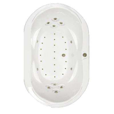 73 in. Acrylic Oval Drop-in Air and Whirlpool Bath Bathtub in Sterling Silver