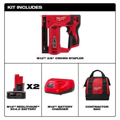 M12 12-Volt Lithium-Ion Cordless 3/8 in. Crown Stapler Kit W/ Two 4.0 Ah Batteries, charger & tool bag