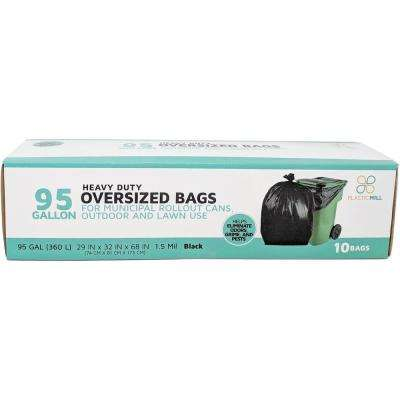 61 in. W x 68 in. H. 95 Gal. 1.5 mil Black Trash Bags (10-Case)