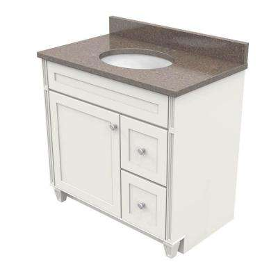 36 in. Vanity in Dove White with Natural Quartz Vanity Top in Obsidian and White Basin