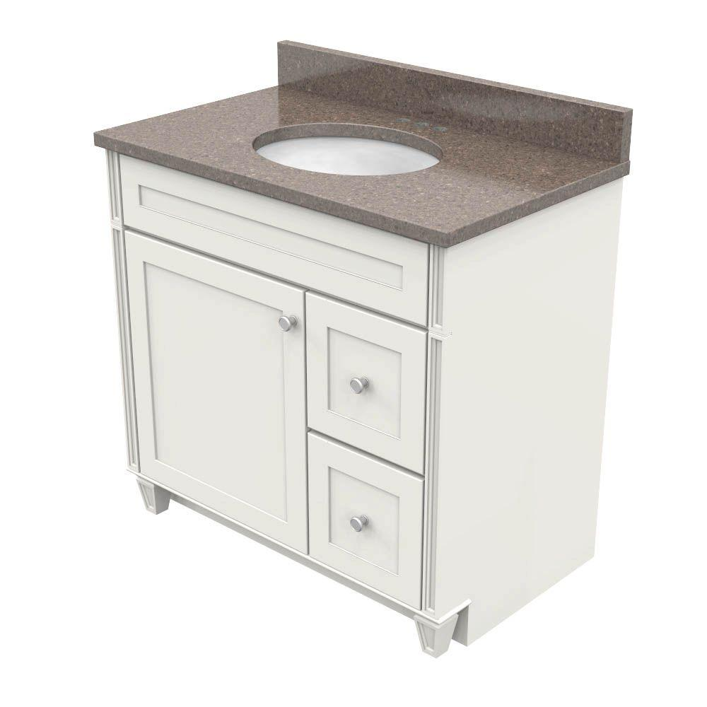 KraftMaid 36 in. Vanity in Dove White with Natural Quartz Vanity Top in Obsidian and