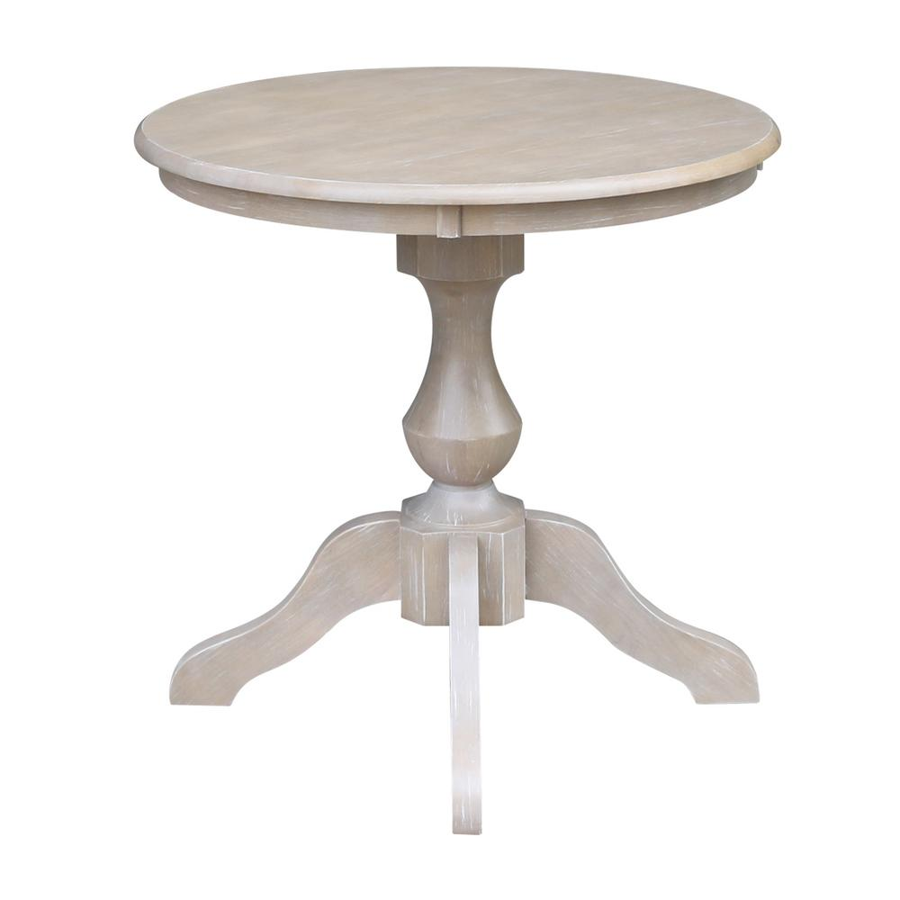 International Concepts Sophia 30 In Round Weathered Taupe Gray Pedestal Dining Table